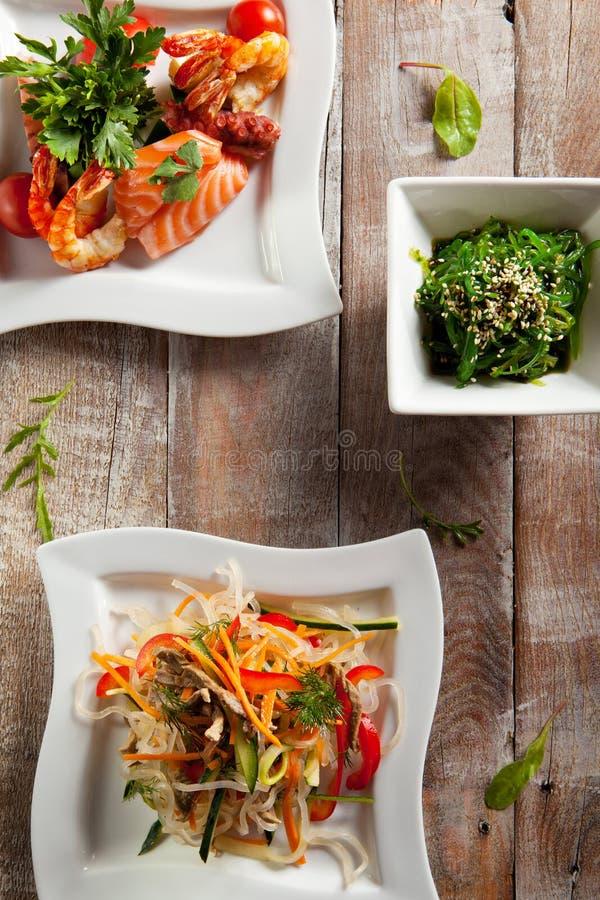 Различный салат морепродуктов стоковая фотография rf