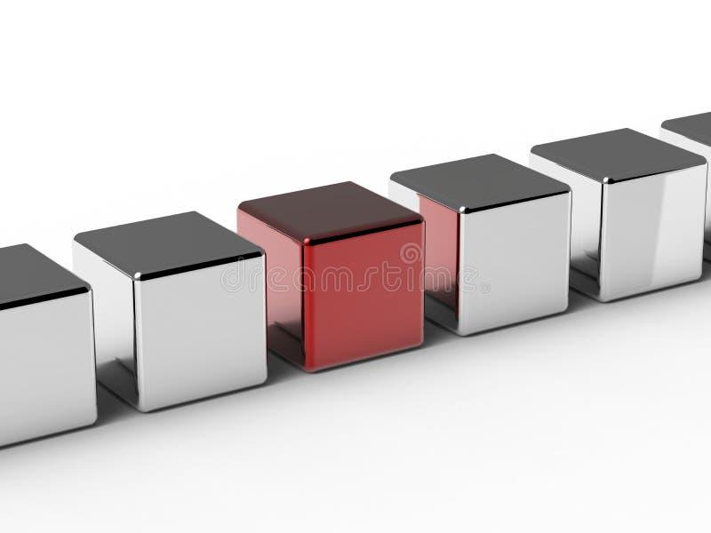 Различный элемент - куб в ряд иллюстрация штока