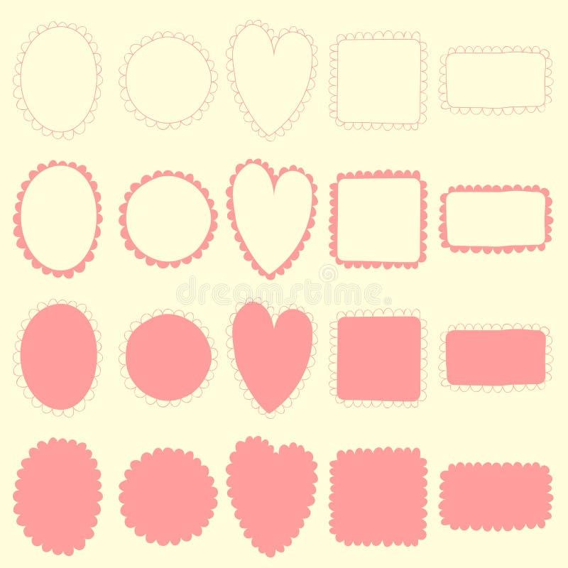 Комплект рамки Doodle иллюстрация вектора