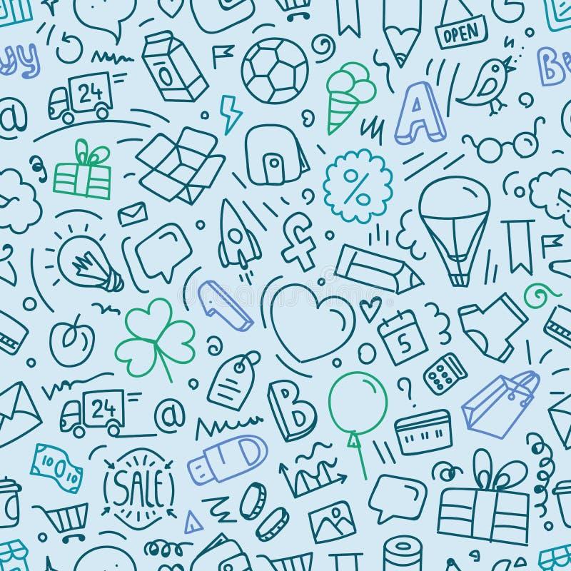 Различный doodle интерфейса сети silhouettes безшовная картина иллюстрация вектора