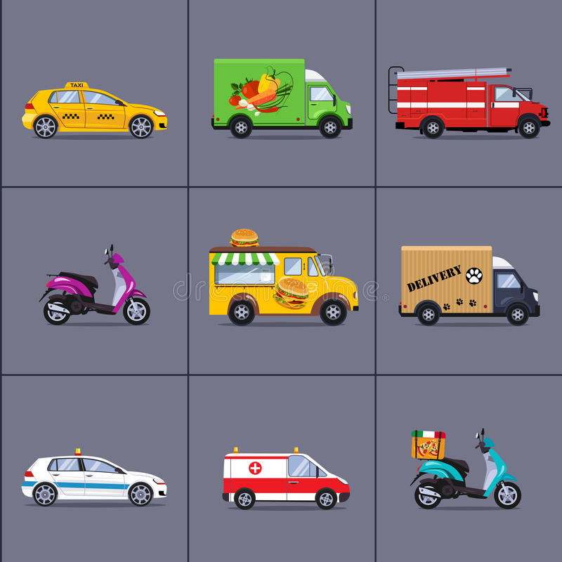 различных автомобилей городского и города, корабли иллюстрация штока
