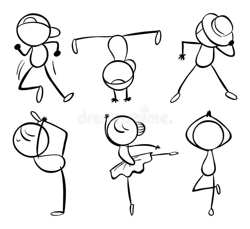 6 различных видов движений танца иллюстрация вектора