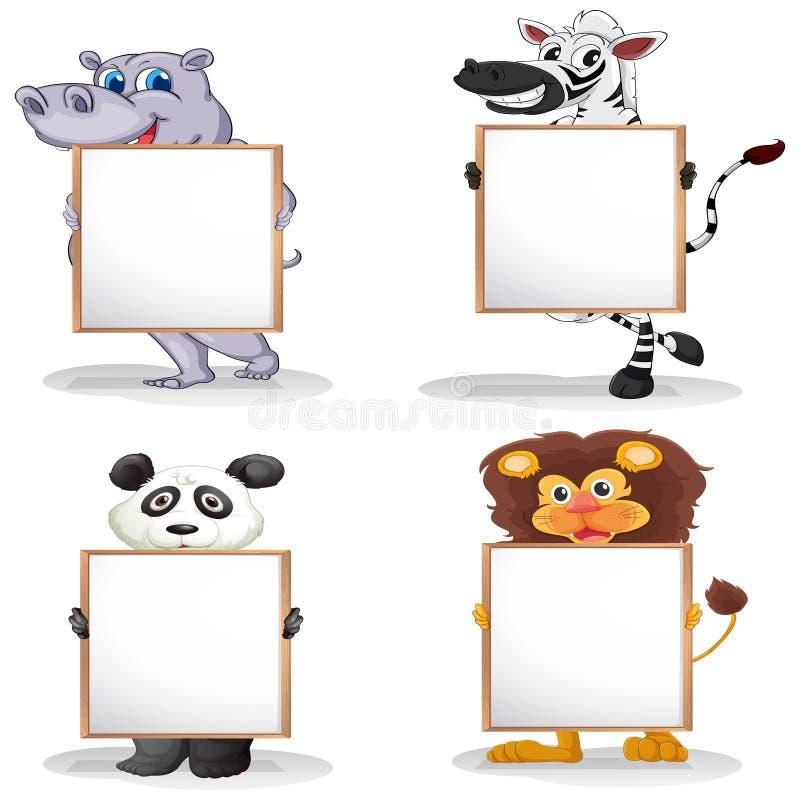 4 различных животного с пустыми whiteboards бесплатная иллюстрация