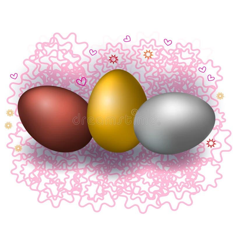 3 различных пасхального яйца на красивой предпосылке иллюстрация вектора
