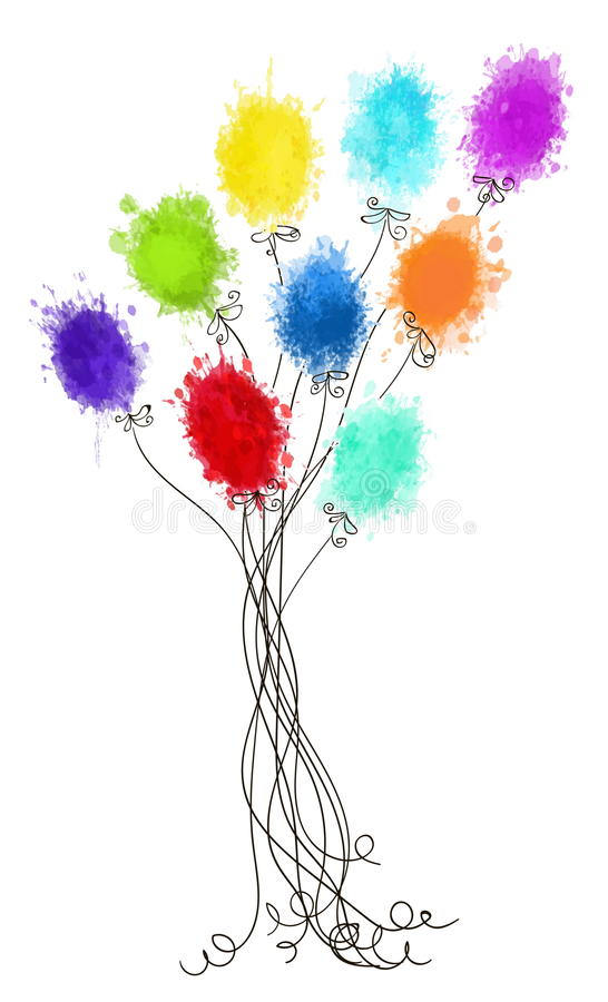 раздувает цветастое бесплатная иллюстрация