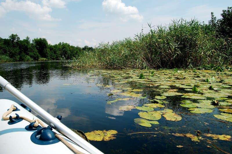 Раздувная шлюпка на узком реке в полдень стоковые фотографии rf