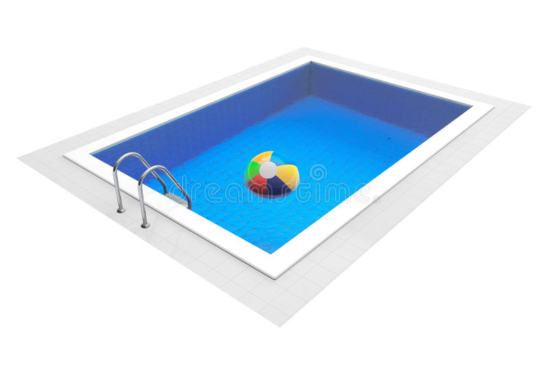 Раздувной красочный шарик в бассейне стоковые изображения rf