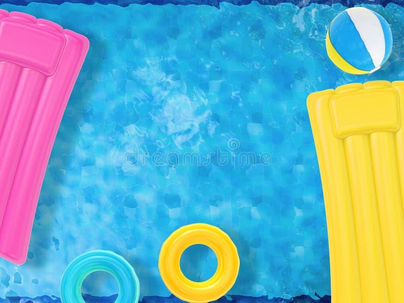 Раздувные игрушки плавая на бассейн стоковые фотографии rf