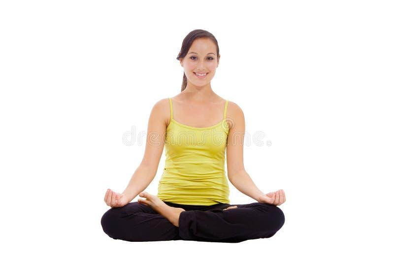 Раздумье женщины йоги стоковые изображения rf