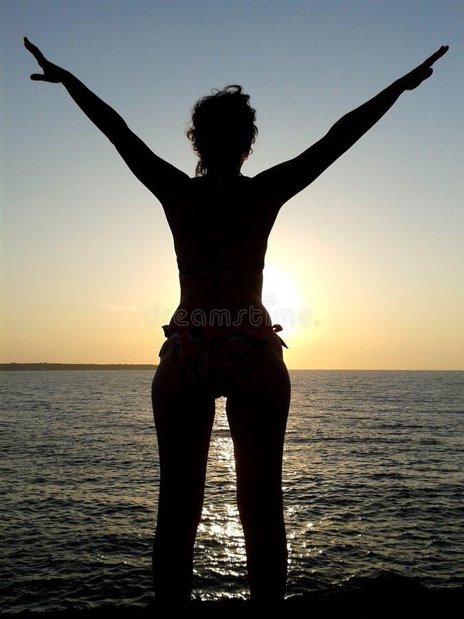 Раздумье женщины на заходе солнца стоковые фото