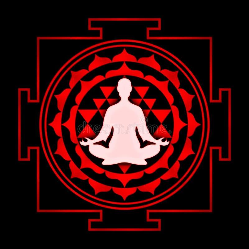 Раздумье Sri Yantra иллюстрация вектора