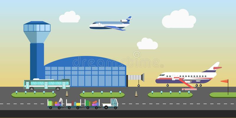 Район взлётно-посадочная дорожка здания и самолета авиапорта vector плоский дизайн иллюстрация вектора