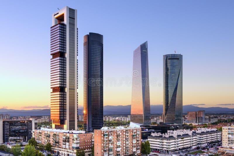 Район Мадрида, Испании финансовый стоковые изображения rf