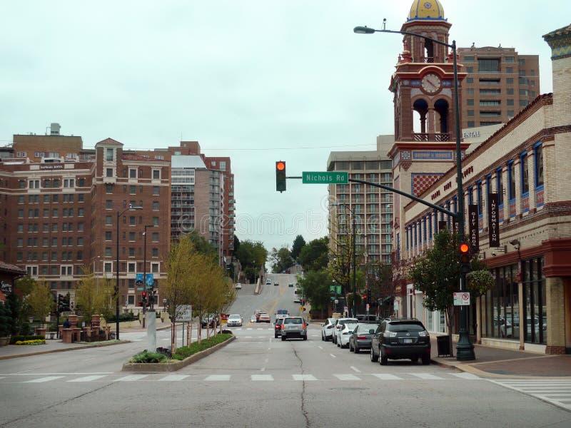 Район площади загородного клуба, Kansas City, MO, городская сцена стоковое изображение