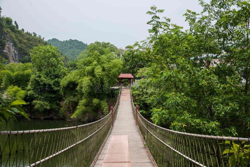 Район Banan гостиницы курорта Чунцина восточный фольклорный, район берега реки ткани туризма спа-курорта 5 весен восточный, drawb стоковые фотографии rf