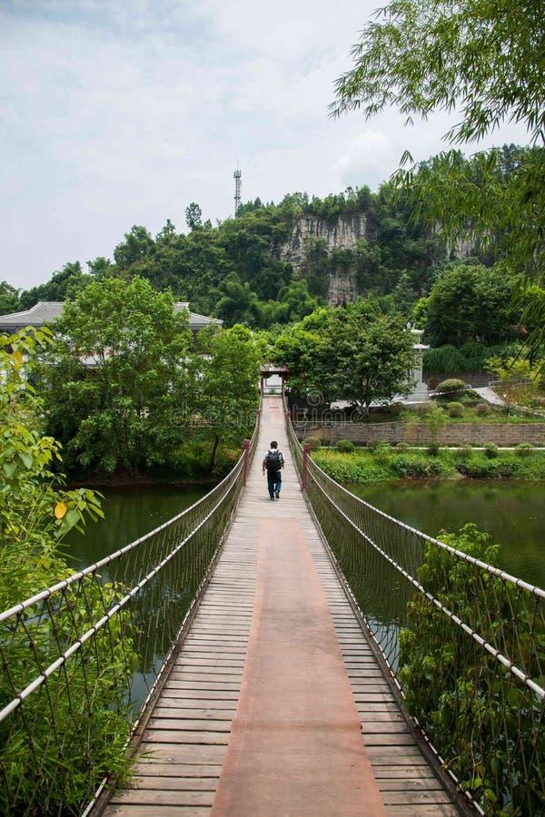 Район Banan гостиницы курорта Чунцина восточный фольклорный, район берега реки ткани туризма спа-курорта 5 весен восточный, drawb стоковое изображение rf