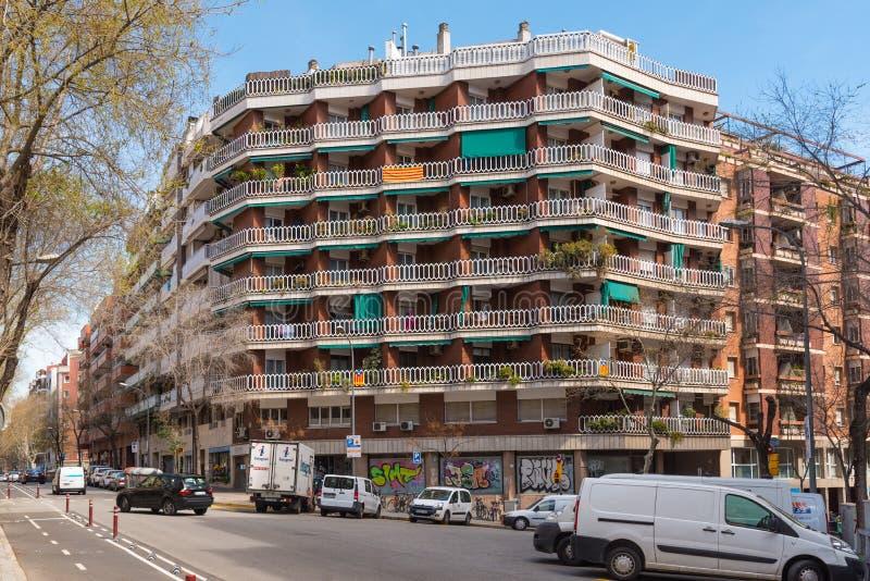 Район Gracia в Барселоне, Испании Взгляд улицы стоковые изображения rf