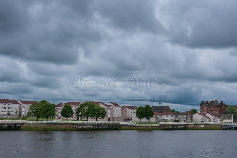Район Napier через реку Клайд, Глазго, Шотландию Великобританию стоковое изображение
