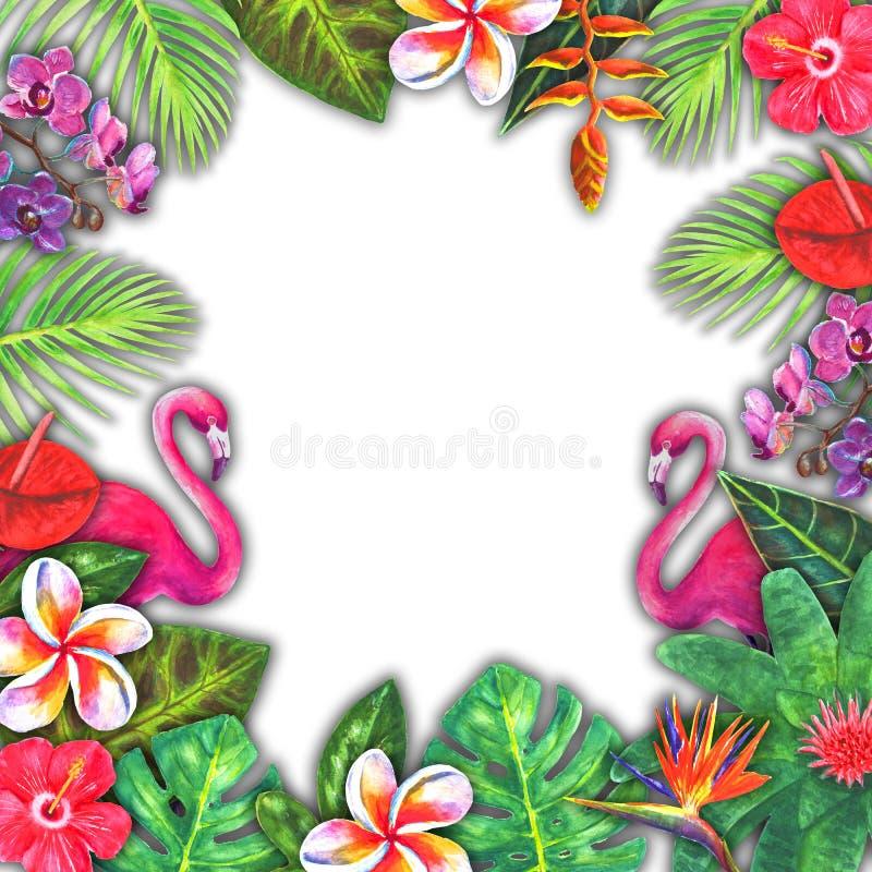 Рай абстрактной акварели лета тропический Заводы вычерченной красочной бумаги руки троповые, розовый фламинго бесплатная иллюстрация