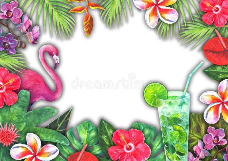 Рай абстрактной акварели лета тропический Заводы вычерченной красочной бумаги руки троповые, розовый фламинго иллюстрация штока