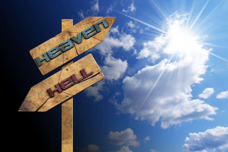 Рай и ад - знак на голубом небе иллюстрация вектора