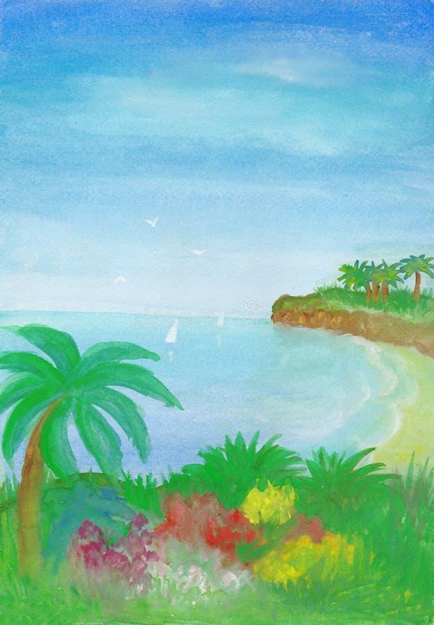 Рай на океане Картина seascape гуаши иллюстрация штока