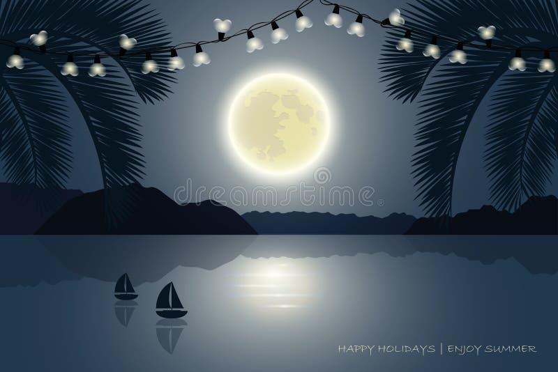 Рай Palm Beach летнего отпуска на лунном свете иллюстрация штока