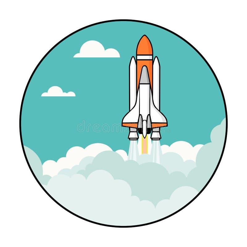 Ракета витает в иллюстрацию вектора неба бесплатная иллюстрация