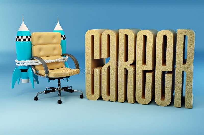 ракета возможностей офиса карьеры кресла иллюстрация вектора