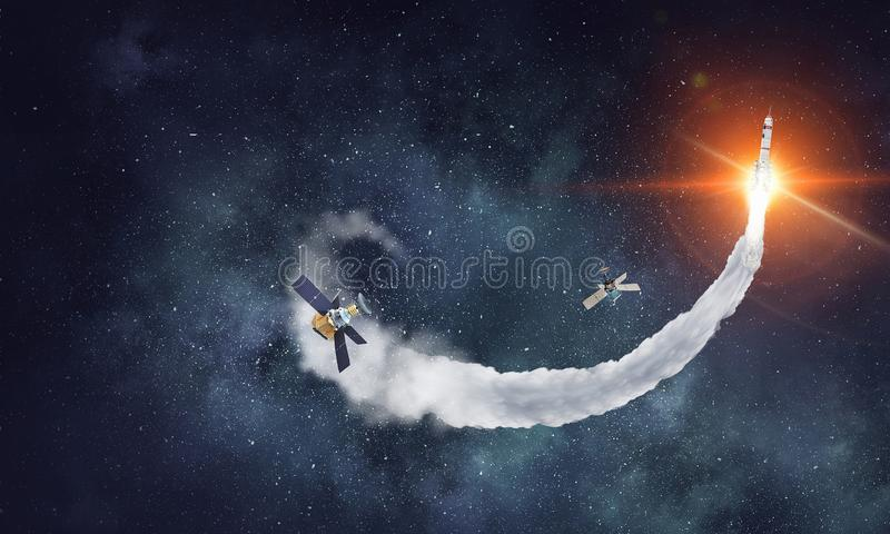Ракета в открытом пространстве Мультимедиа стоковая фотография rf
