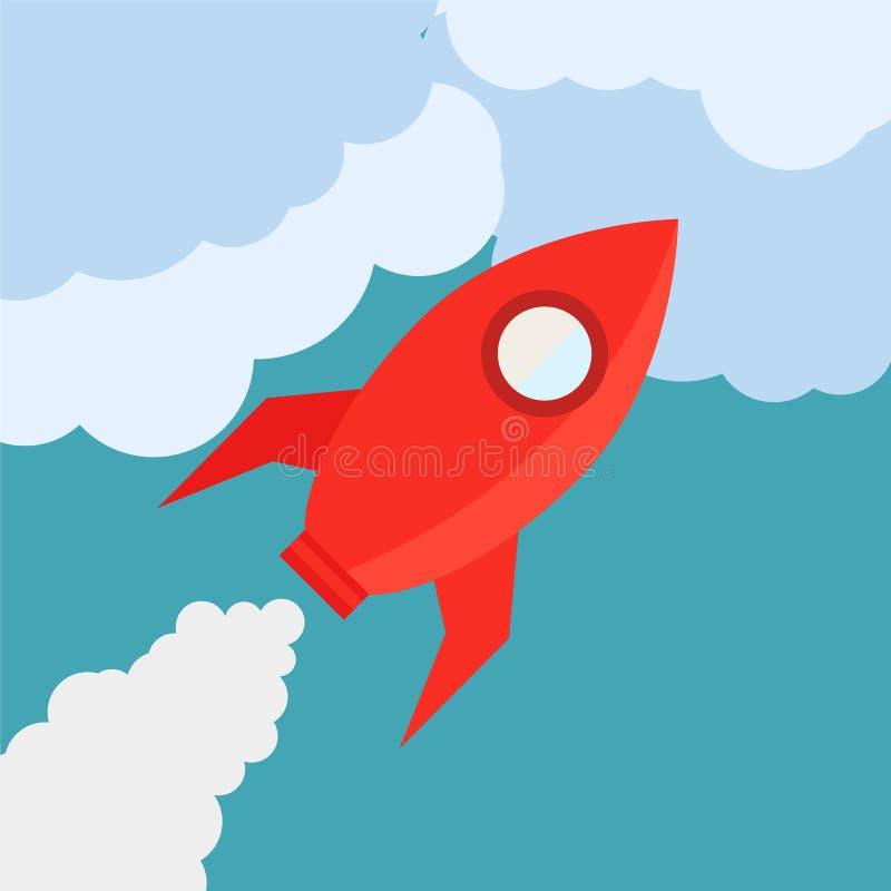Ракета в плоском стиле иллюстрация штока