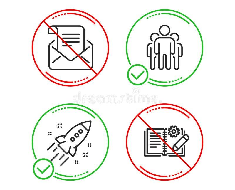 Ракета запуска, информационый бюллетень группы и почты набор значков Знак документации инженерства вектор иллюстрация штока