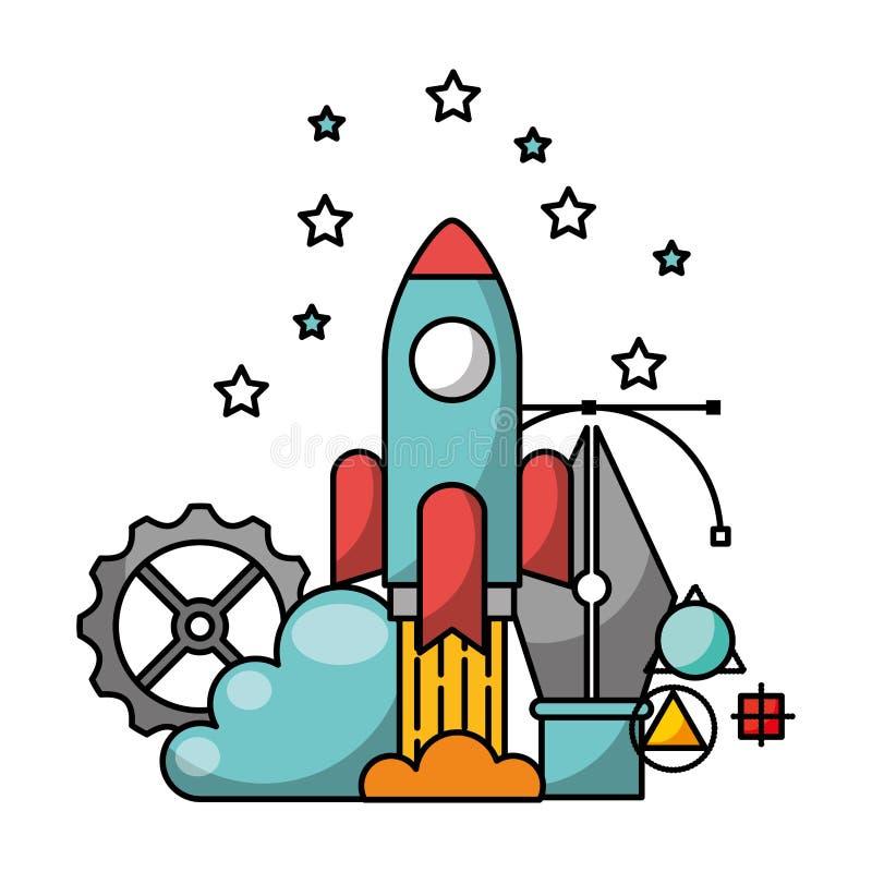 Ракета запуска с авторучкой и значками иллюстрация штока
