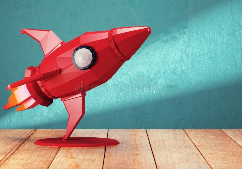 Ракета игрушки на деревянном столе иллюстрация вектора