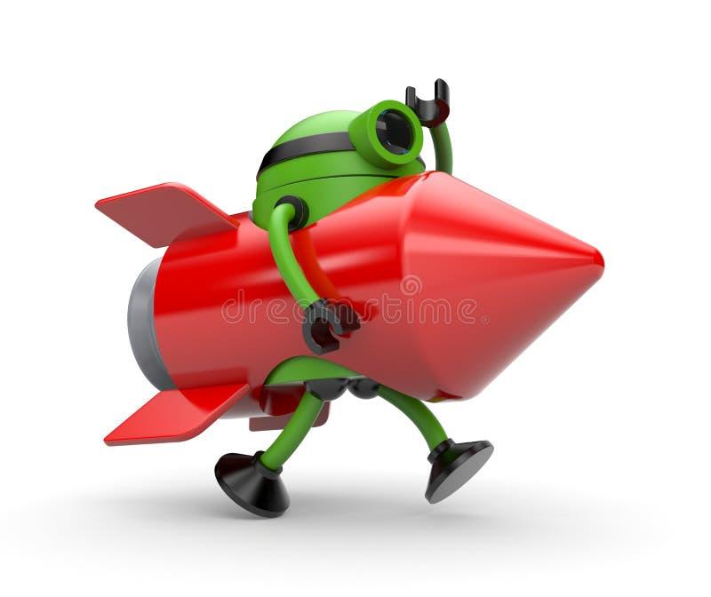 Ракета костюма робота бежит где-то бесплатная иллюстрация