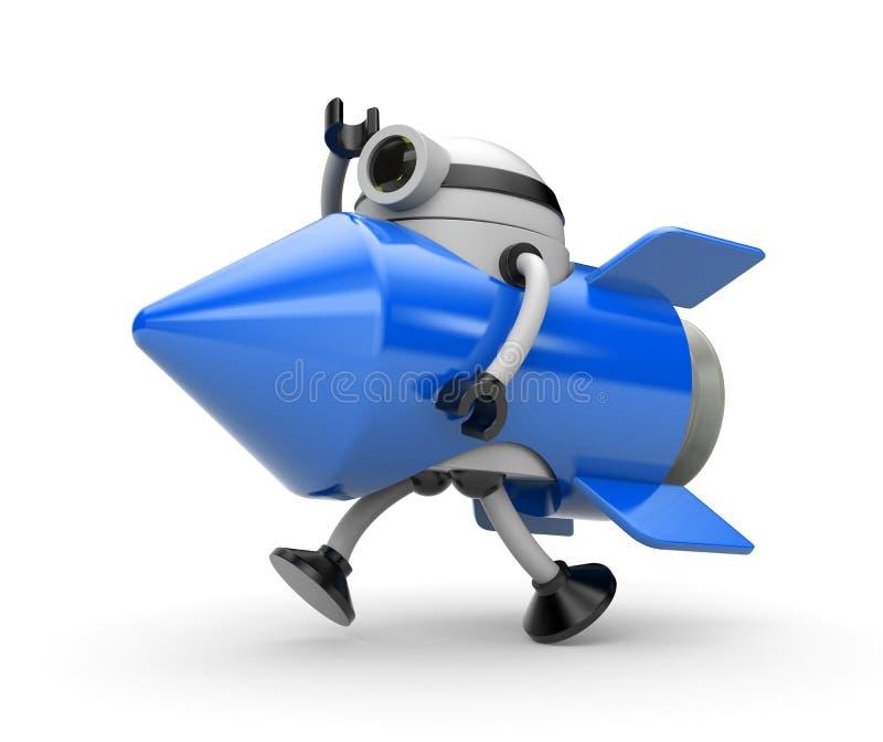 Ракета костюма робота бежит где-то иллюстрация вектора