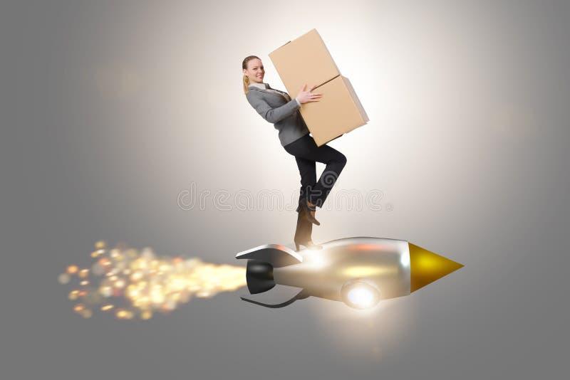 Ракета летания женщины и коробки поставлять иллюстрация вектора
