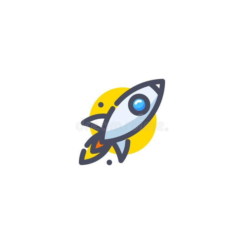 Ракета летая вверх по значку Красочный старт корабля шаржа Логотип продукта нововведения Вектор стратегии устремленности дела бесплатная иллюстрация