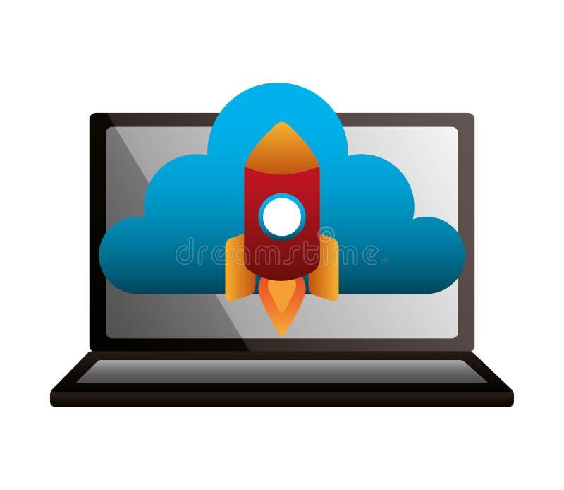 Ракета облака ноутбука вычисляя запуская бесплатная иллюстрация