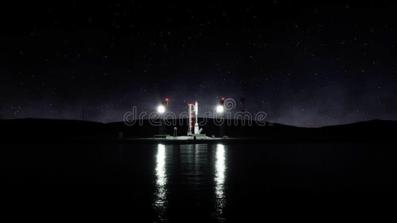 Ракета перед стартом Система старта космоса перевод 3d стоковые изображения rf