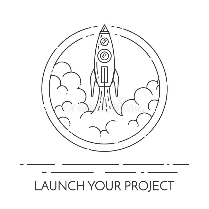 Ракета принимает концепцию для нового запуска проекта дела иллюстрация вектора