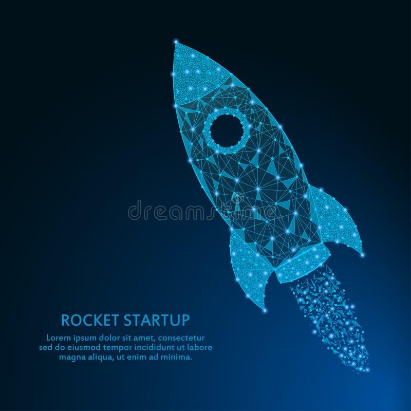 Ракета сделала пунктами и линиями, полигональной сеткой с звездами на ночном небе Концепция запуска дела от низкого поли wirefram иллюстрация штока