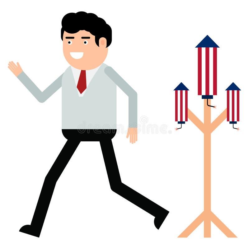 Ракета фейерверков бизнесмена запуская бесплатная иллюстрация