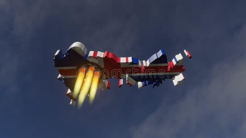 Ракета Brexit - иллюстрация 3D иллюстрация штока