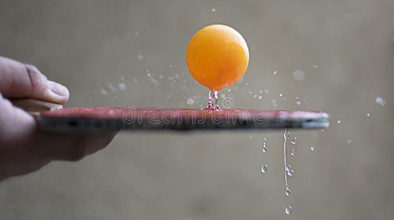Ракетка пингпонга ударяя шарик Концепция действия движения спорта на стоковые фотографии rf