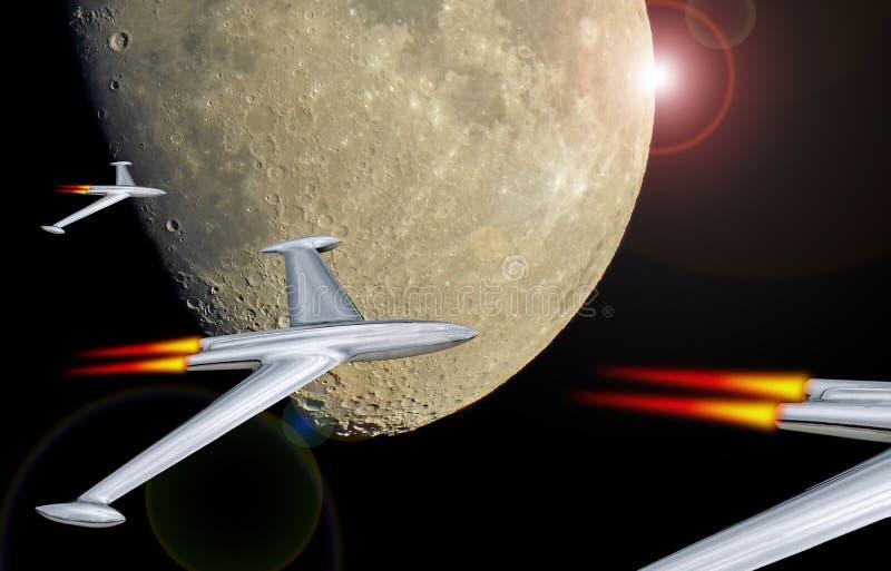 Ракеты от темной стороны луны иллюстрация вектора