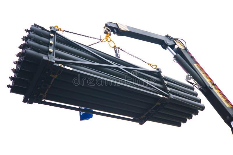 ракеты поднятые краном стоковое изображение