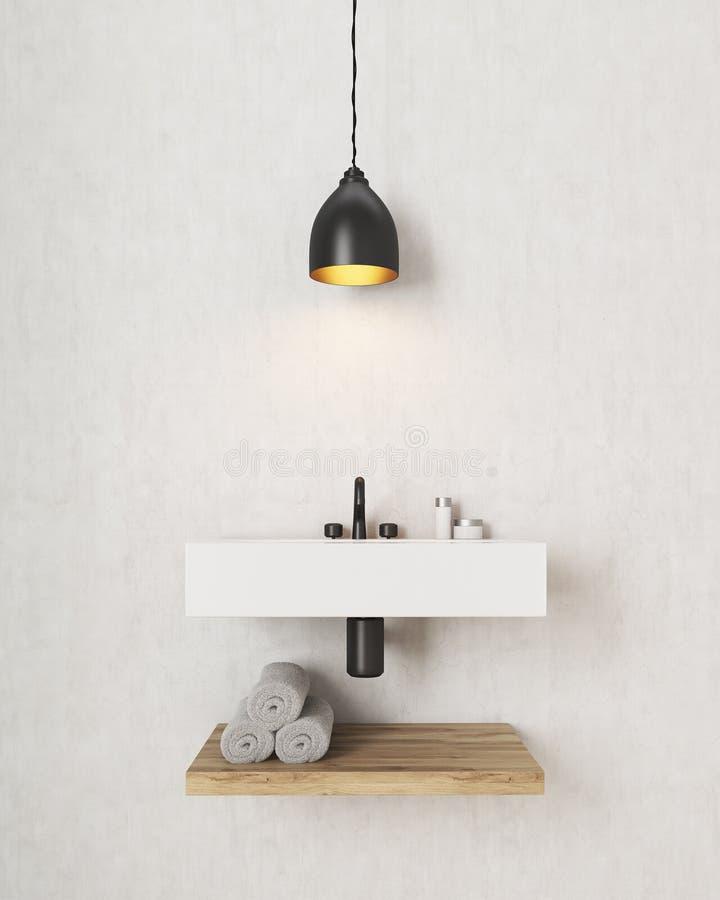 Раковина ванной комнаты с деревянной полкой под ей стоковые фотографии rf