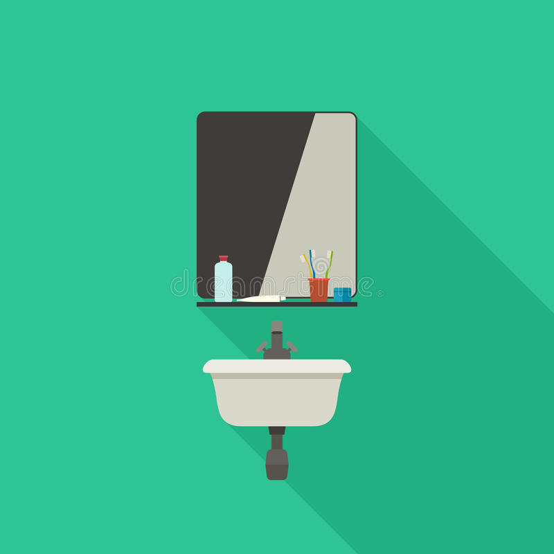Раковина ванной комнаты с зеркалом иллюстрация штока