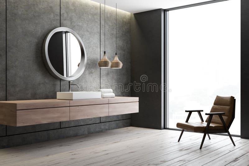 Раковина и зеркало в конкретной ванной комнате, кресле бесплатная иллюстрация